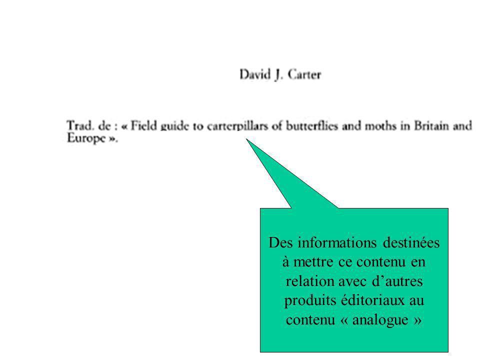 19 Des informations destinées à mettre ce contenu en relation avec dautres produits éditoriaux au contenu « analogue »
