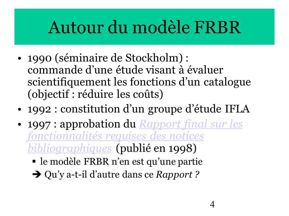 4 Autour du modèle FRBR 1990 (séminaire de Stockholm) : commande dune étude visant à évaluer scientifiquement les fonctions dun catalogue (objectif : réduire les coûts) 1992 : constitution dun groupe détude IFLA 1997 : approbation du Rapport final sur les fonctionnalités requises des notices bibliographiques (publié en 1998)Rapport final sur les fonctionnalités requises des notices bibliographiques le modèle FRBR nen est quune partie Quy a-t-il dautre dans ce Rapport ?