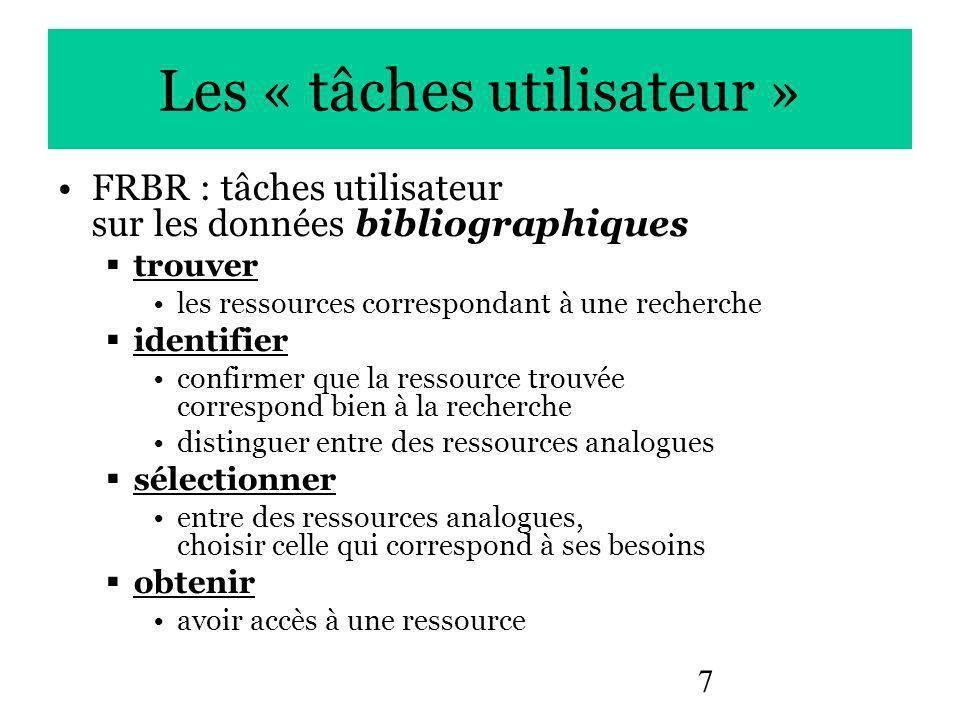 7 Les « tâches utilisateur » FRBR : tâches utilisateur sur les données bibliographiques trouver les ressources correspondant à une recherche identifier confirmer que la ressource trouvée correspond bien à la recherche distinguer entre des ressources analogues sélectionner entre des ressources analogues, choisir celle qui correspond à ses besoins obtenir avoir accès à une ressource