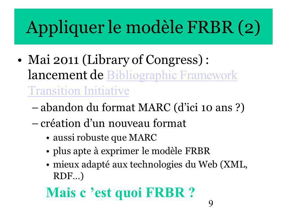 9 Appliquer le modèle FRBR (2) Mai 2011 (Library of Congress) : lancement de Bibliographic Framework Transition Initiative Bibliographic Framework Transition Initiative –abandon du format MARC (dici 10 ans ?) –création dun nouveau format aussi robuste que MARC plus apte à exprimer le modèle FRBR mieux adapté aux technologies du Web (XML, RDF…) Mais c est quoi FRBR ?
