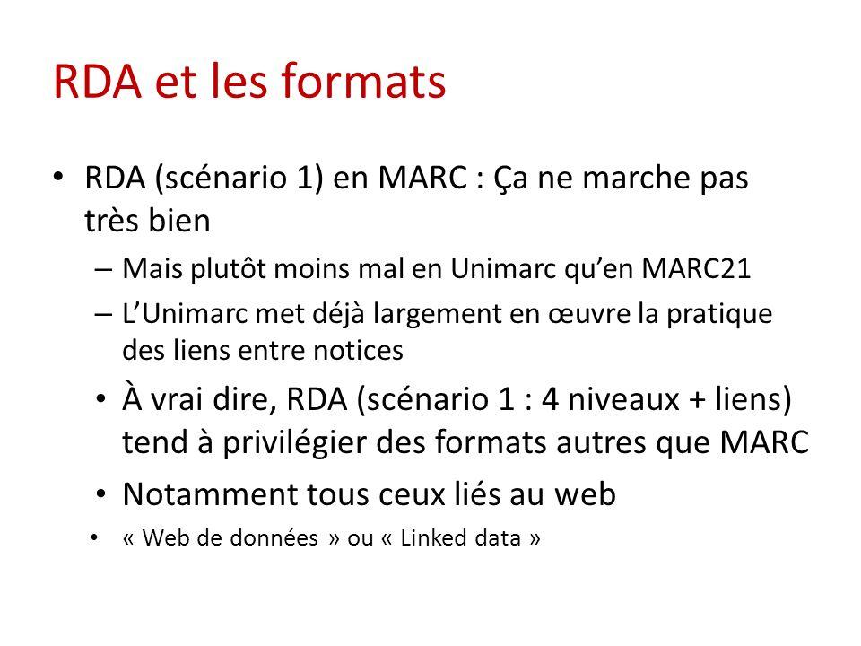 RDA et les formats RDA (scénario 1) en MARC : Ça ne marche pas très bien – Mais plutôt moins mal en Unimarc quen MARC21 – LUnimarc met déjà largement en œuvre la pratique des liens entre notices À vrai dire, RDA (scénario 1 : 4 niveaux + liens) tend à privilégier des formats autres que MARC Notamment tous ceux liés au web « Web de données » ou « Linked data »