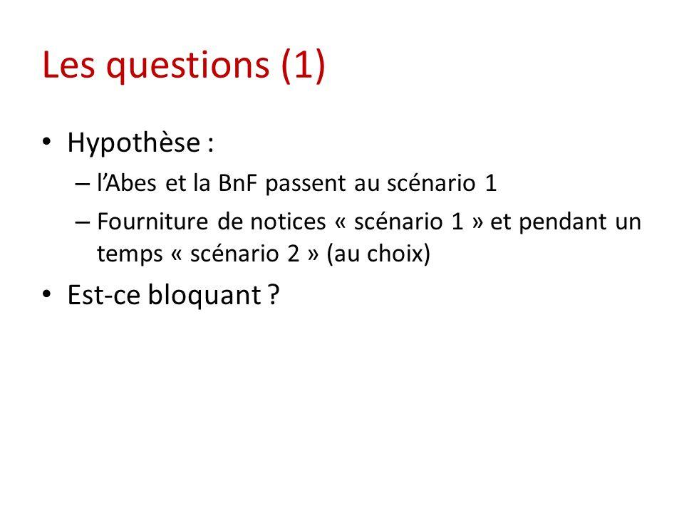 Les questions (1) Hypothèse : – lAbes et la BnF passent au scénario 1 – Fourniture de notices « scénario 1 » et pendant un temps « scénario 2 » (au choix) Est-ce bloquant