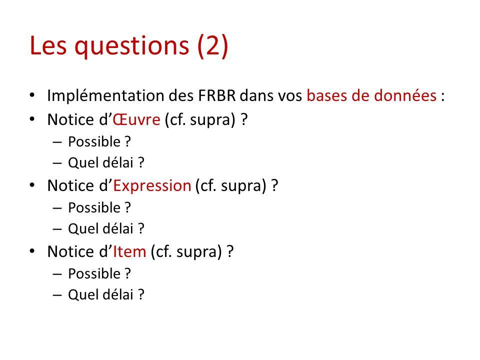 Les questions (2) Implémentation des FRBR dans vos bases de données : Notice dŒuvre (cf.