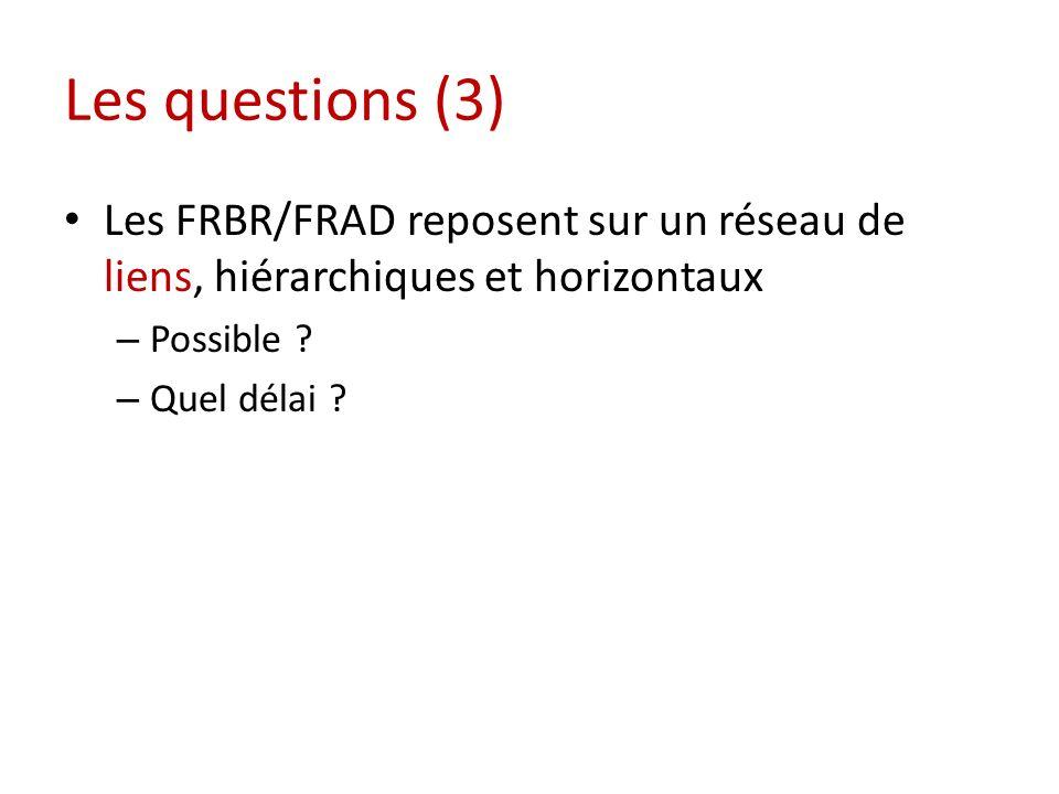 Les questions (3) Les FRBR/FRAD reposent sur un réseau de liens, hiérarchiques et horizontaux – Possible .