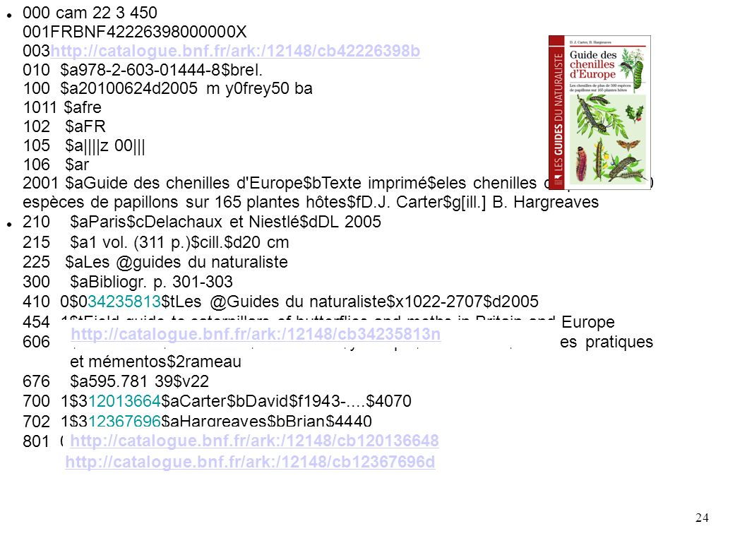 24 000 cam 22 3 450 001FRBNF42226398000000X 003http://catalogue.bnf.fr/ark:/12148/cb42226398b 010 $a978-2-603-01444-8$brel.