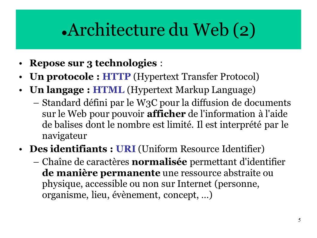 5 Architecture du Web (2) Repose sur 3 technologies : Un protocole : HTTP (Hypertext Transfer Protocol) Un langage : HTML (Hypertext Markup Language) –Standard défini par le W3C pour la diffusion de documents sur le Web pour pouvoir afficher de l information à l aide de balises dont le nombre est limité.
