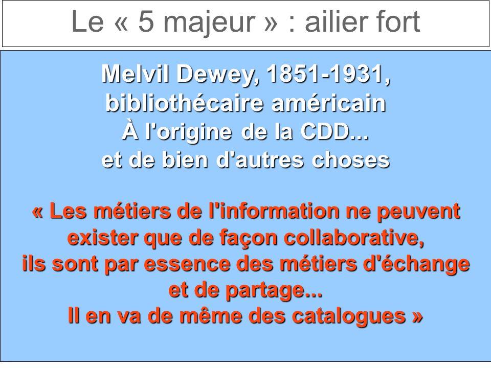 Le « 5 majeur » : ailier fort Melvil Dewey, 1851-1931, bibliothécaire américain À l origine de la CDD...