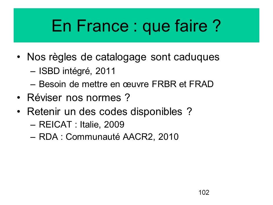 102 En France : que faire ? Nos règles de catalogage sont caduques –ISBD intégré, 2011 –Besoin de mettre en œuvre FRBR et FRAD Réviser nos normes ? Re