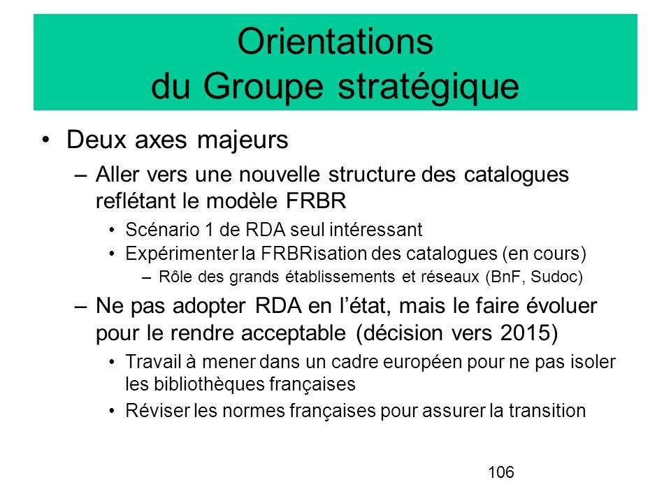 106 Orientations du Groupe stratégique Deux axes majeurs –Aller vers une nouvelle structure des catalogues reflétant le modèle FRBR Scénario 1 de RDA