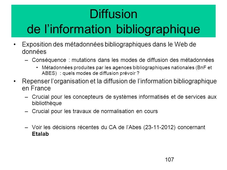 107 Diffusion de linformation bibliographique Exposition des métadonnées bibliographiques dans le Web de données –Conséquence : mutations dans les mod