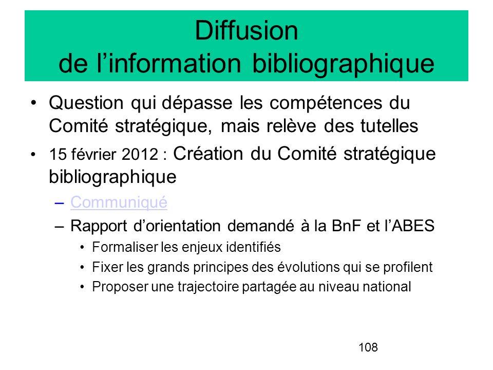 108 Question qui dépasse les compétences du Comité stratégique, mais relève des tutelles 15 février 2012 : Création du Comité stratégique bibliographi