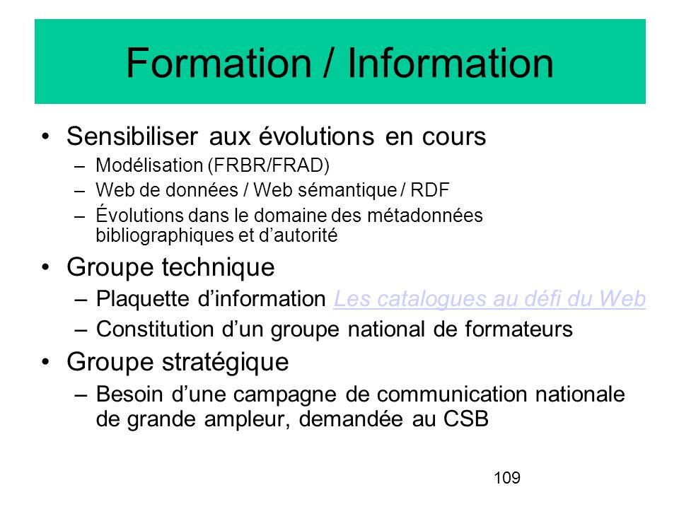 109 Formation / Information Sensibiliser aux évolutions en cours –Modélisation (FRBR/FRAD) –Web de données / Web sémantique / RDF –Évolutions dans le