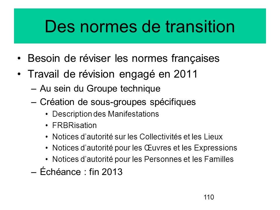 110 Des normes de transition Besoin de réviser les normes françaises Travail de révision engagé en 2011 –Au sein du Groupe technique –Création de sous
