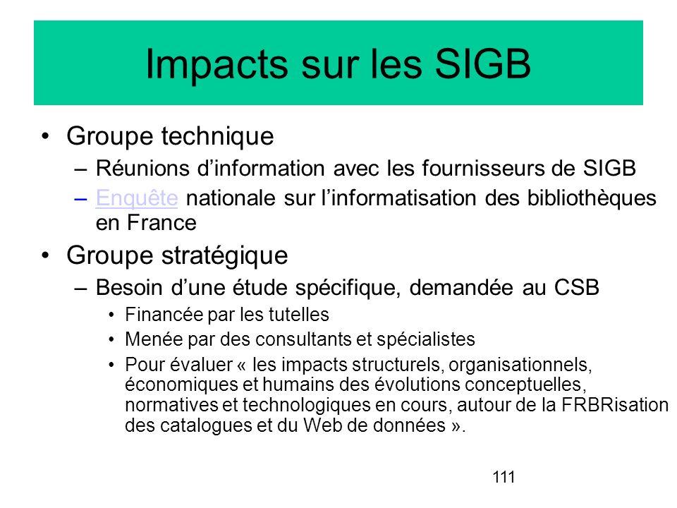 111 Impacts sur les SIGB Groupe technique –Réunions dinformation avec les fournisseurs de SIGB –Enquête nationale sur linformatisation des bibliothèqu
