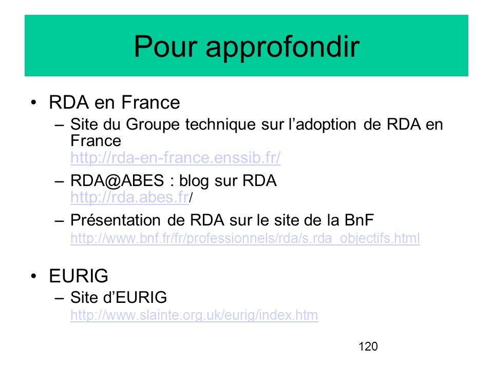 120 Pour approfondir RDA en France –Site du Groupe technique sur ladoption de RDA en France http://rda-en-france.enssib.fr/ http://rda-en-france.enssi