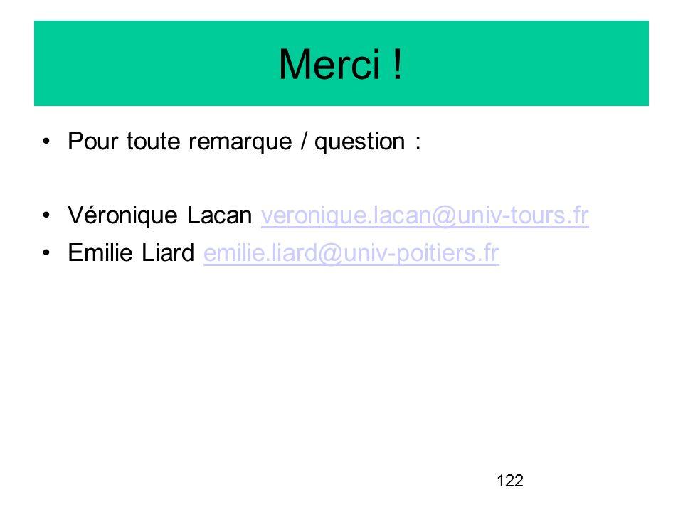 122 Merci ! Pour toute remarque / question : Véronique Lacan veronique.lacan@univ-tours.frveronique.lacan@univ-tours.fr Emilie Liard emilie.liard@univ