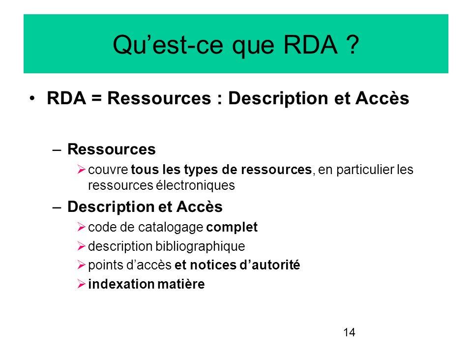 14 Quest-ce que RDA ? RDA = Ressources : Description et Accès –Ressources couvre tous les types de ressources, en particulier les ressources électroni