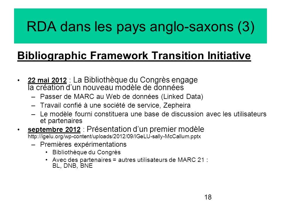 18 RDA dans les pays anglo-saxons (3) Bibliographic Framework Transition Initiative 22 mai 2012 : La Bibliothèque du Congrès engage la création dun no