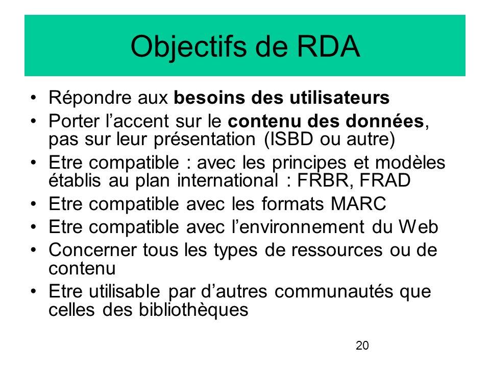20 Objectifs de RDA Répondre aux besoins des utilisateurs Porter laccent sur le contenu des données, pas sur leur présentation (ISBD ou autre) Etre co