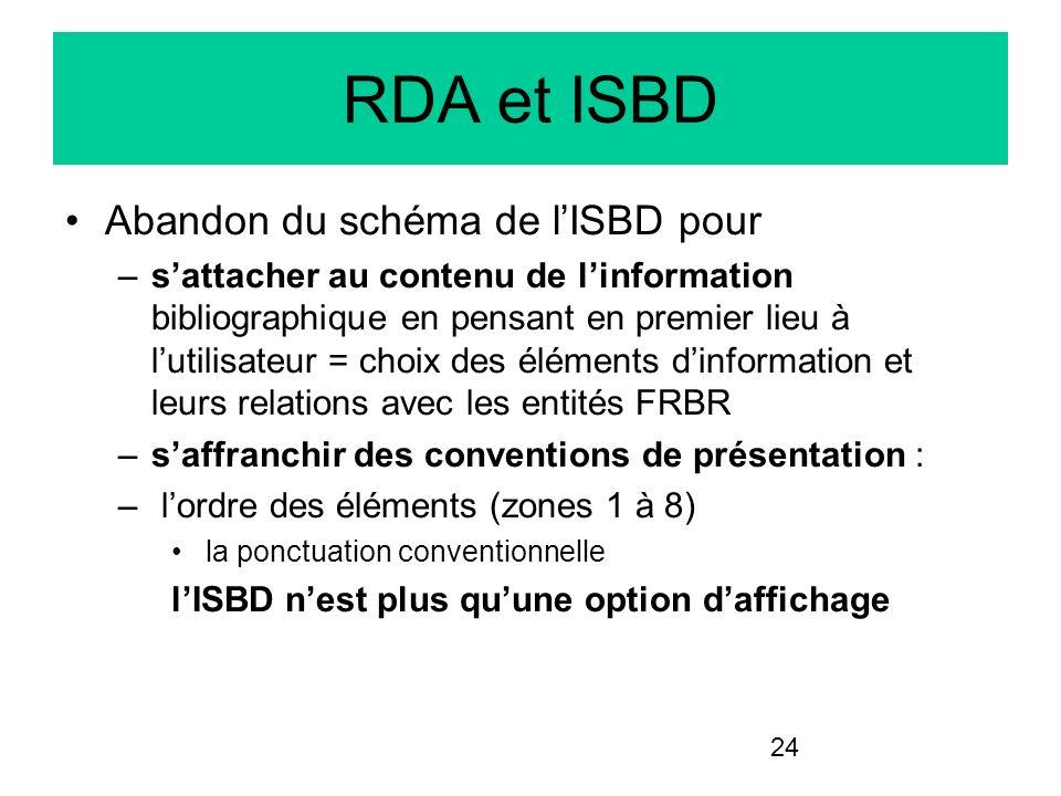 24 RDA et ISBD Abandon du schéma de lISBD pour –sattacher au contenu de linformation bibliographique en pensant en premier lieu à lutilisateur = choix