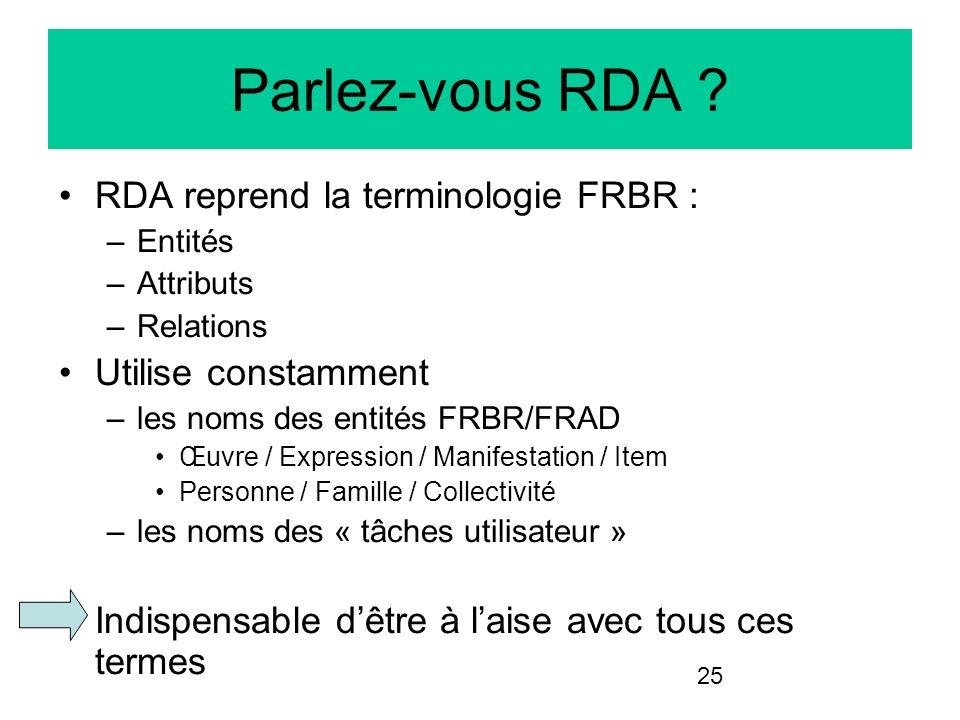 25 Parlez-vous RDA ? RDA reprend la terminologie FRBR : –Entités –Attributs –Relations Utilise constamment –les noms des entités FRBR/FRAD Œuvre / Exp