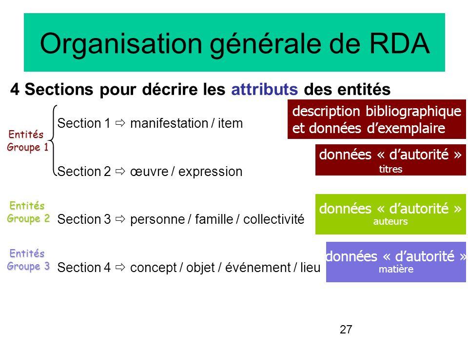 27 Organisation générale de RDA 4 Sections pour décrire les attributs des entités Section 1 manifestation / item Section 2 œuvre / expression Section