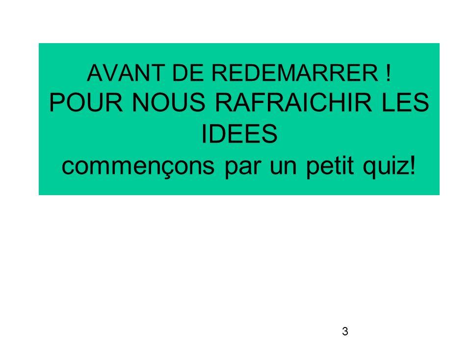 3 AVANT DE REDEMARRER ! POUR NOUS RAFRAICHIR LES IDEES commençons par un petit quiz!
