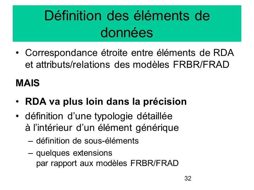32 Définition des éléments de données Correspondance étroite entre éléments de RDA et attributs/relations des modèles FRBR/FRAD MAIS RDA va plus loin