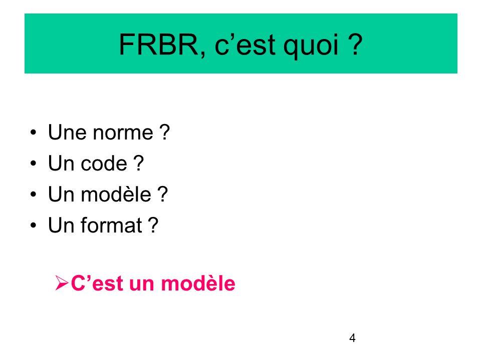 4 FRBR, cest quoi ? Une norme ? Un code ? Un modèle ? Un format ? Cest un modèle