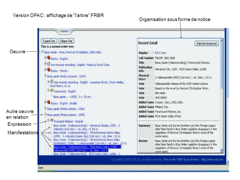 57 Version OPAC : affichage de