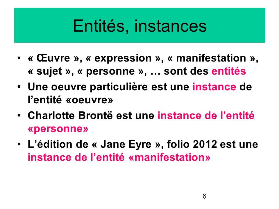 6 Entités, instances « Œuvre », « expression », « manifestation », « sujet », « personne », … sont des entités Une oeuvre particulière est une instanc