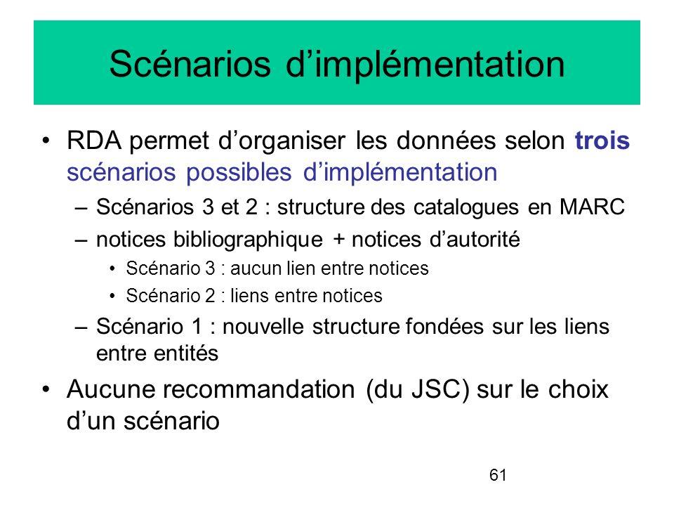 61 Scénarios dimplémentation RDA permet dorganiser les données selon trois scénarios possibles dimplémentation –Scénarios 3 et 2 : structure des catal