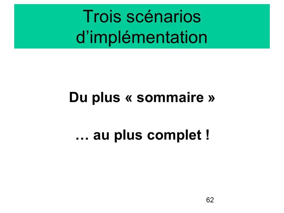 62 Trois scénarios dimplémentation Du plus « sommaire » … au plus complet !