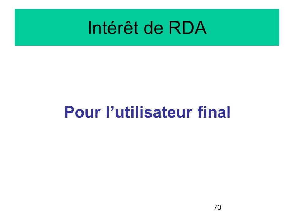 73 Intérêt de RDA Pour lutilisateur final
