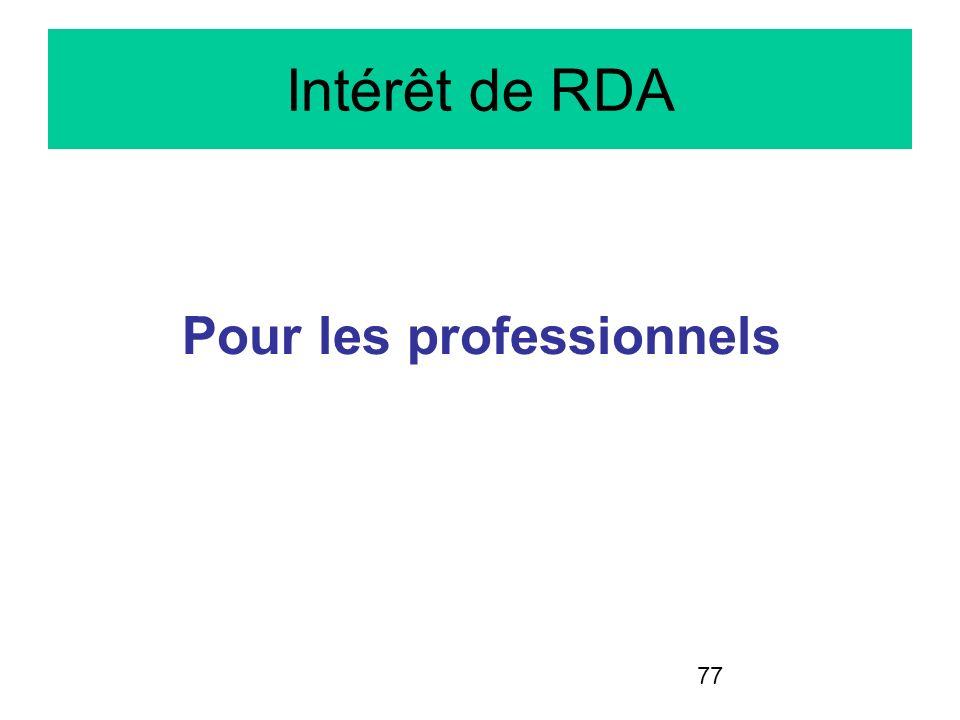 77 Intérêt de RDA Pour les professionnels