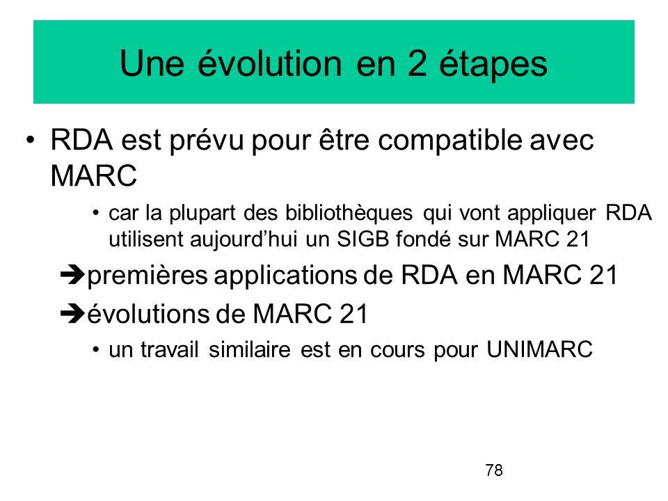 78 Une évolution en 2 étapes RDA est prévu pour être compatible avec MARC car la plupart des bibliothèques qui vont appliquer RDA utilisent aujourdhui