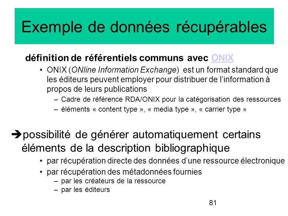 81 Exemple de données récupérables définition de référentiels communs avec ONIXONIX ONIX (ONline Information Exchange) est un format standard que les