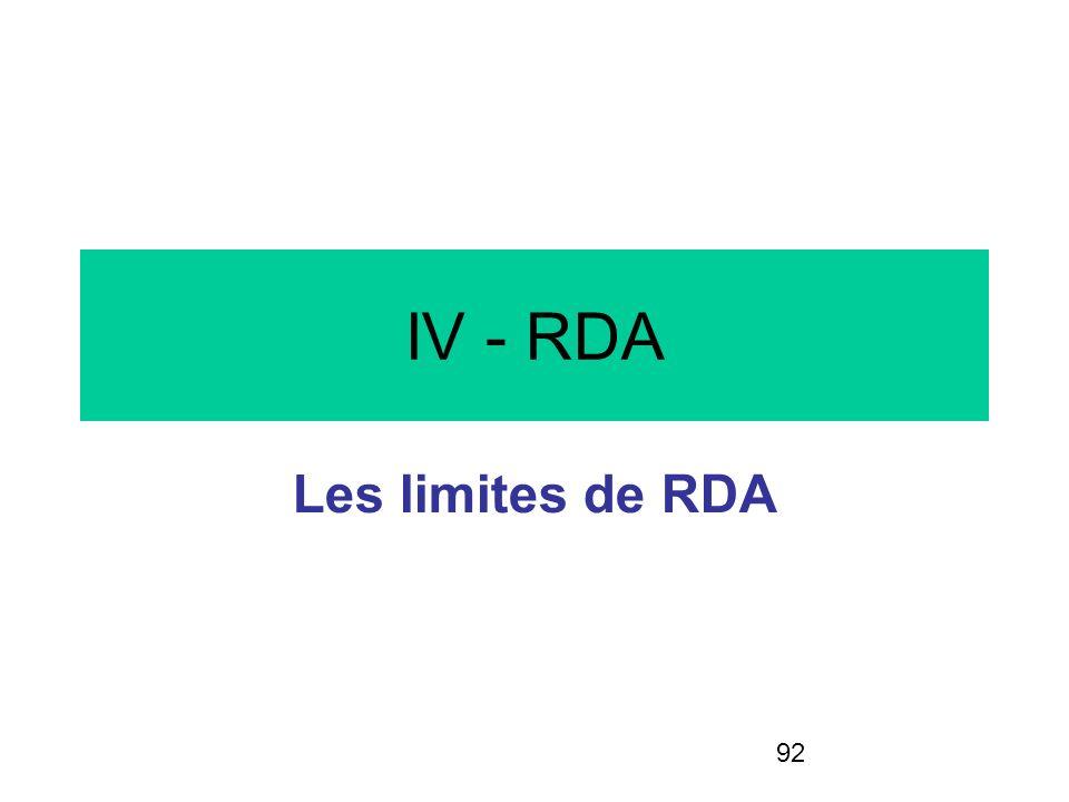 92 IV - RDA Les limites de RDA