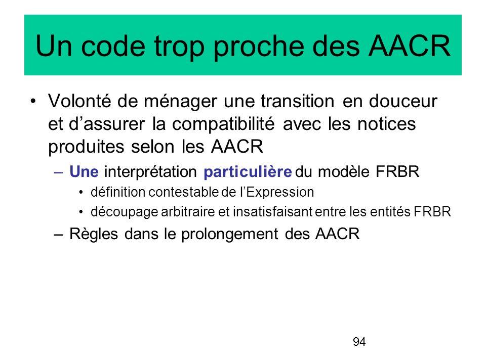 94 Un code trop proche des AACR Volonté de ménager une transition en douceur et dassurer la compatibilité avec les notices produites selon les AACR –U