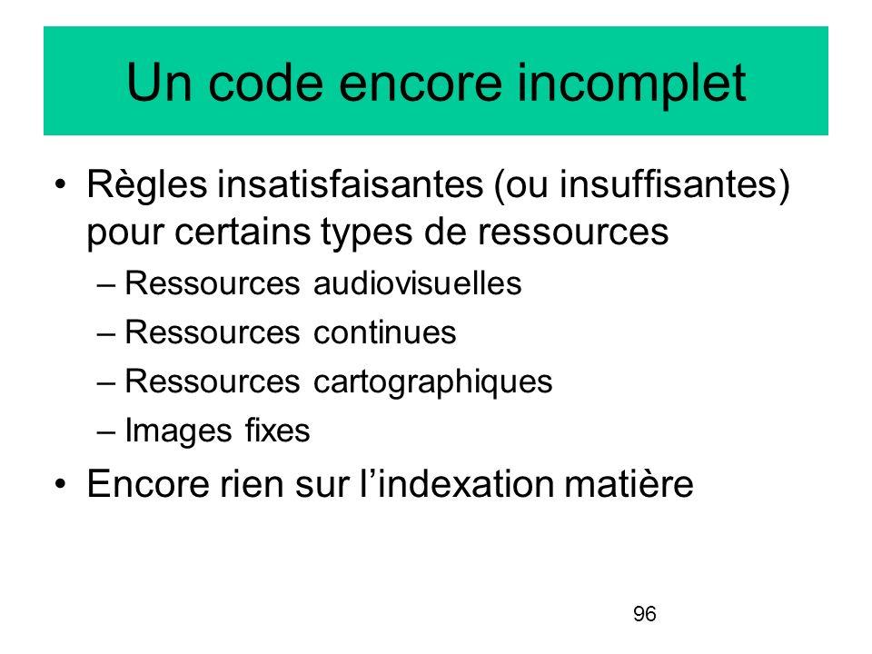 96 Un code encore incomplet Règles insatisfaisantes (ou insuffisantes) pour certains types de ressources –Ressources audiovisuelles –Ressources contin
