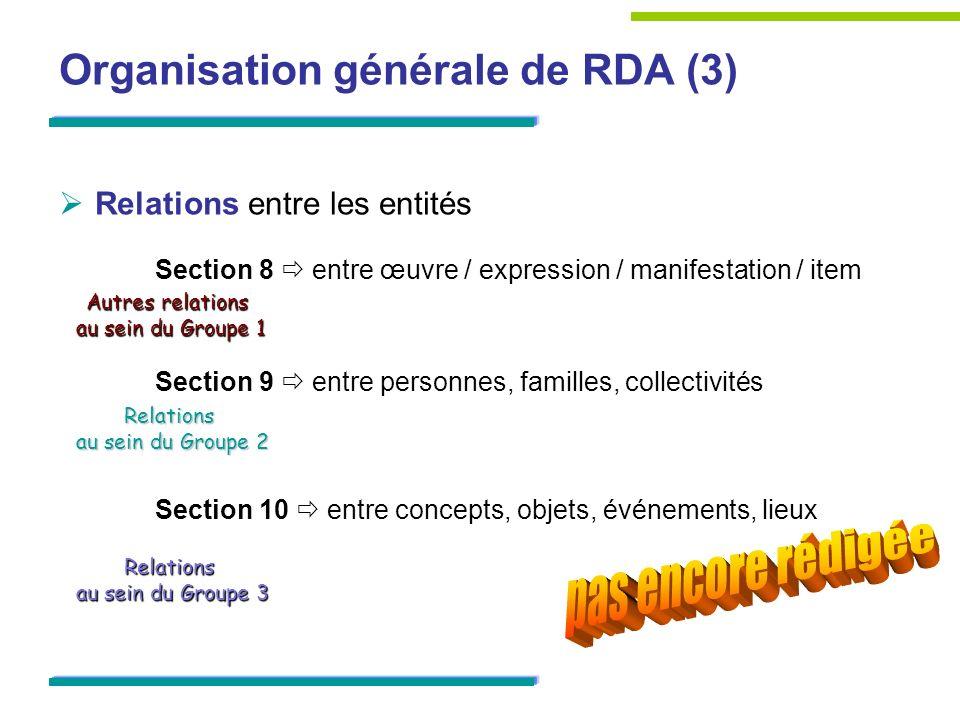 Définition des éléments de données (1) Correspondance étroite entre éléments de RDA et attributs/relations des modèles FRBR/FRAD MAIS : RDA va plus loin dans la précision Ensemble déléments de métadonnées Définition dune typologie détaillée à lintérieur dun élément générique Définition de sous-éléments quelques extensions par rapport aux modèles FRBR/FRAD