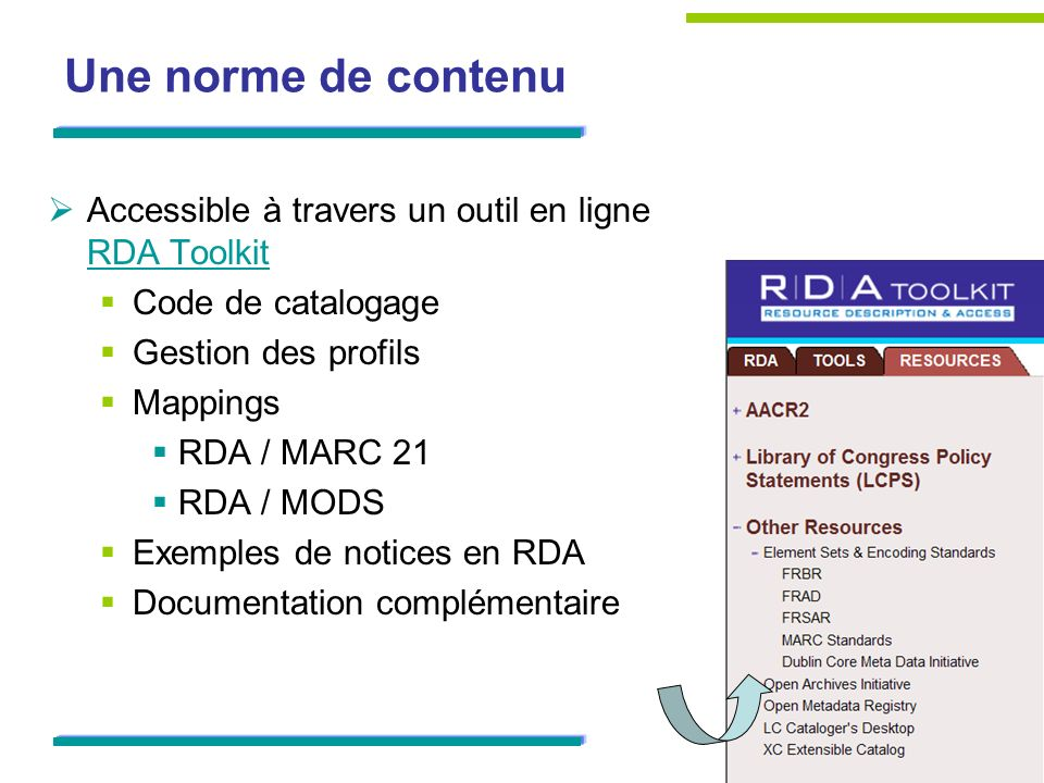 Une norme de contenu Accessible à travers un outil en ligne RDA Toolkit RDA Toolkit Code de catalogage Gestion des profils Mappings RDA / MARC 21 RDA / MODS Exemples de notices en RDA Documentation complémentaire