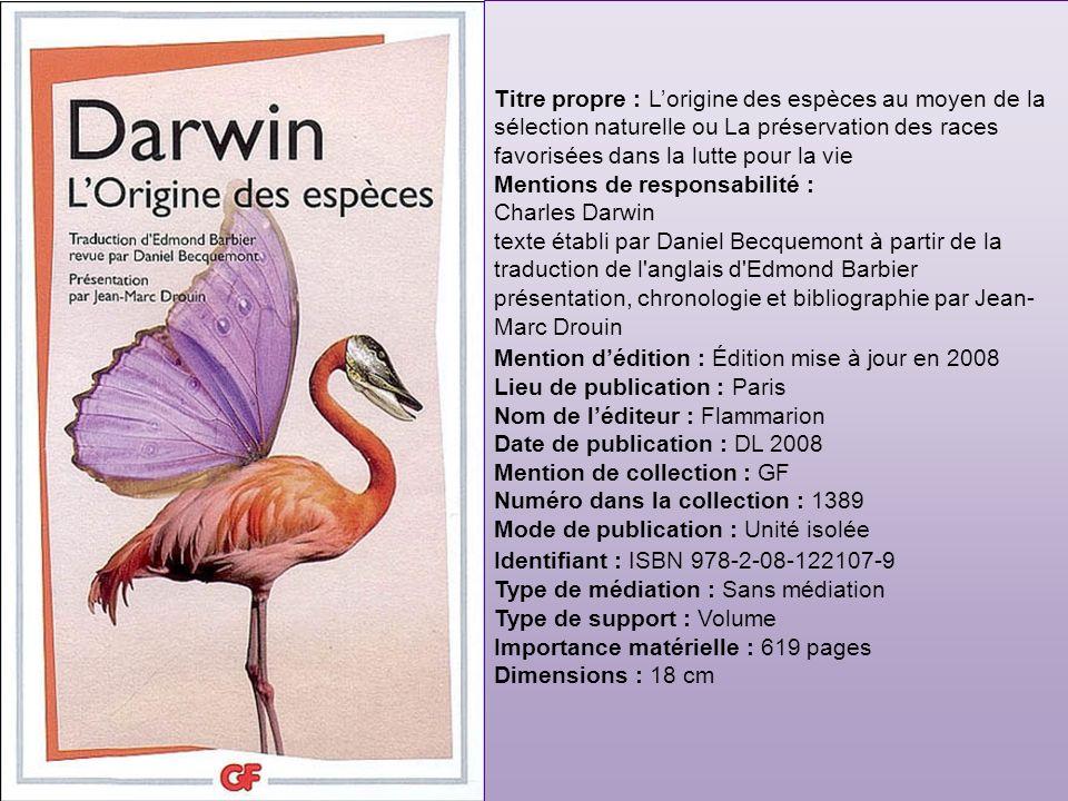 Identifiant : xxxxxx Point daccès autorisé : Darwin, Charles (1809- 1882).