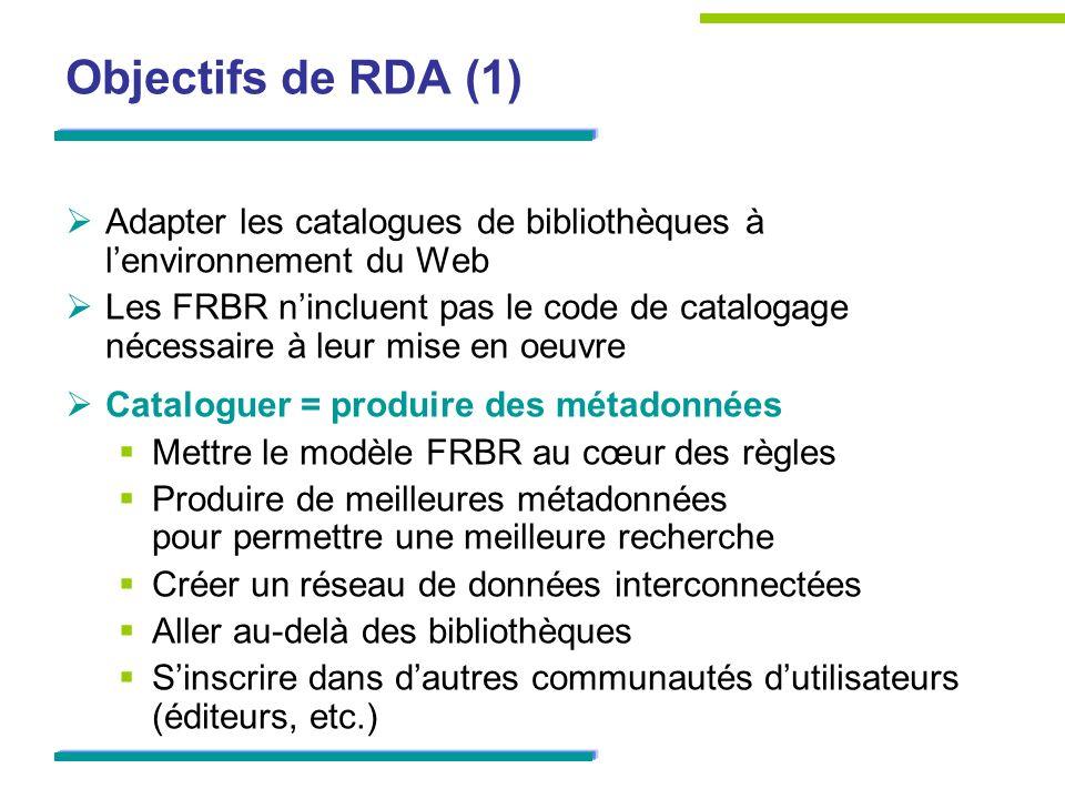 Objectifs de RDA (2) Mettre lusager au cœur de la démarche de signalement des ressources conformément aux Principes internationaux de catalogage de lIFLAPrincipes internationaux de catalogage en sappuyant sur FRBR / FRAD donnéesPourquoi inclure ces données .