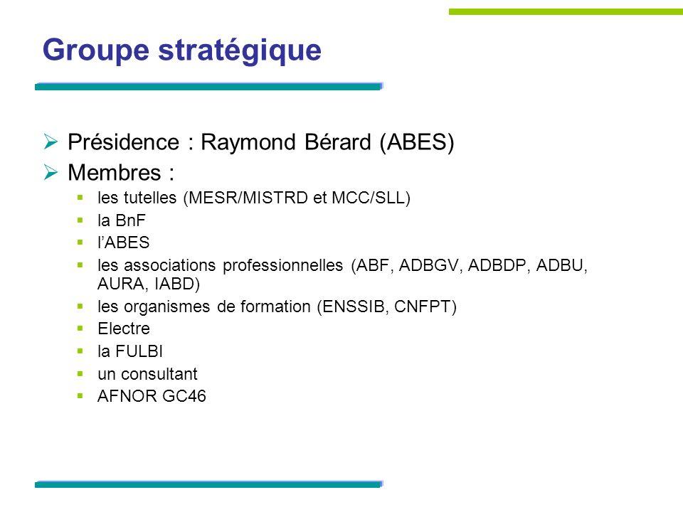 Groupe technique Groupe dexperts AFNOR CG46/CN357/GE6 « Évolution de la description bibliographique », élargi pour avoir une représentation des différentes catégories de bibliothèques françaises des différentes catégories de ressources des différentes entités décrites dans les catalogues (notices bibliographiques et dautorité)