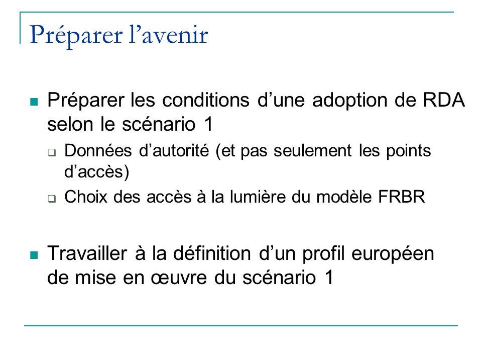 Préparer lavenir Préparer les conditions dune adoption de RDA selon le scénario 1 Données dautorité (et pas seulement les points daccès) Choix des accès à la lumière du modèle FRBR Travailler à la définition dun profil européen de mise en œuvre du scénario 1