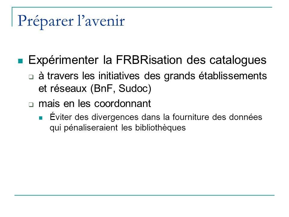 Préparer lavenir Expérimenter la FRBRisation des catalogues à travers les initiatives des grands établissements et réseaux (BnF, Sudoc) mais en les coordonnant Éviter des divergences dans la fourniture des données qui pénaliseraient les bibliothèques