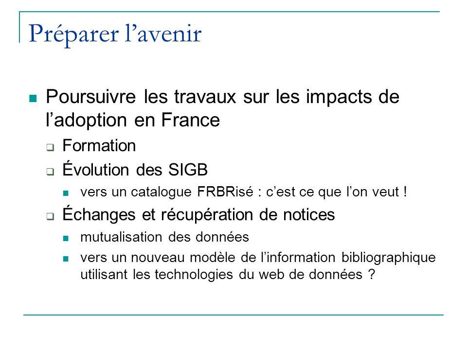 Préparer lavenir Poursuivre les travaux sur les impacts de ladoption en France Formation Évolution des SIGB vers un catalogue FRBRisé : cest ce que lon veut .