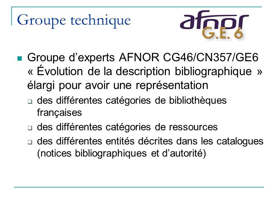 Groupe technique Groupe dexperts AFNOR CG46/CN357/GE6 « Évolution de la description bibliographique » élargi pour avoir une représentation des différentes catégories de bibliothèques françaises des différentes catégories de ressources des différentes entités décrites dans les catalogues (notices bibliographiques et dautorité)