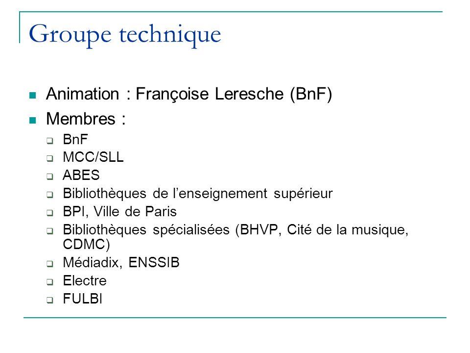Groupe technique Animation : Françoise Leresche (BnF) Membres : BnF MCC/SLL ABES Bibliothèques de lenseignement supérieur BPI, Ville de Paris Bibliothèques spécialisées (BHVP, Cité de la musique, CDMC) Médiadix, ENSSIB Electre FULBI